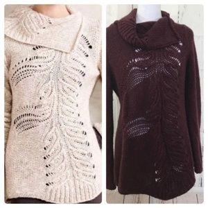 Anthro Moth Asymmetrical Cowlneck Knit Sweater